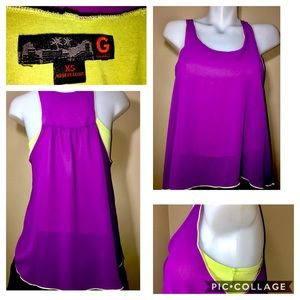 GBYGUESS SHEER PURPLE & LIME GREEN LINED TANK